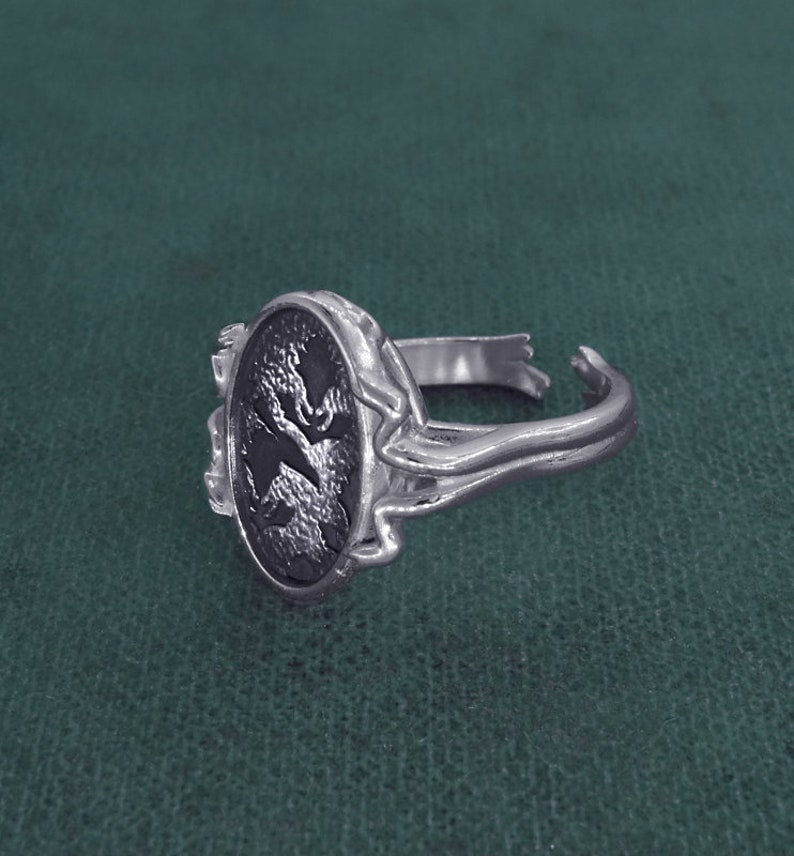Peony flower ring antique Victorian tapestry sterling silver image 0