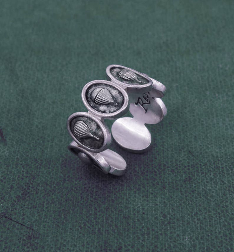 Air balloon ring aerostat mood jewelry ethical sterling image 0