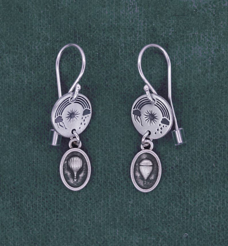 Air balloon earrings Louis XVI 18th century sterling silver image 0