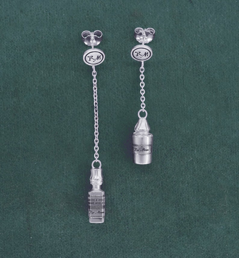 Apothecary bottle earrings poison vials sterling silver  image 0