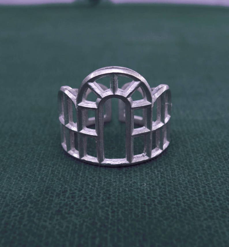 Botanical architectural ring openwork factory design image 0