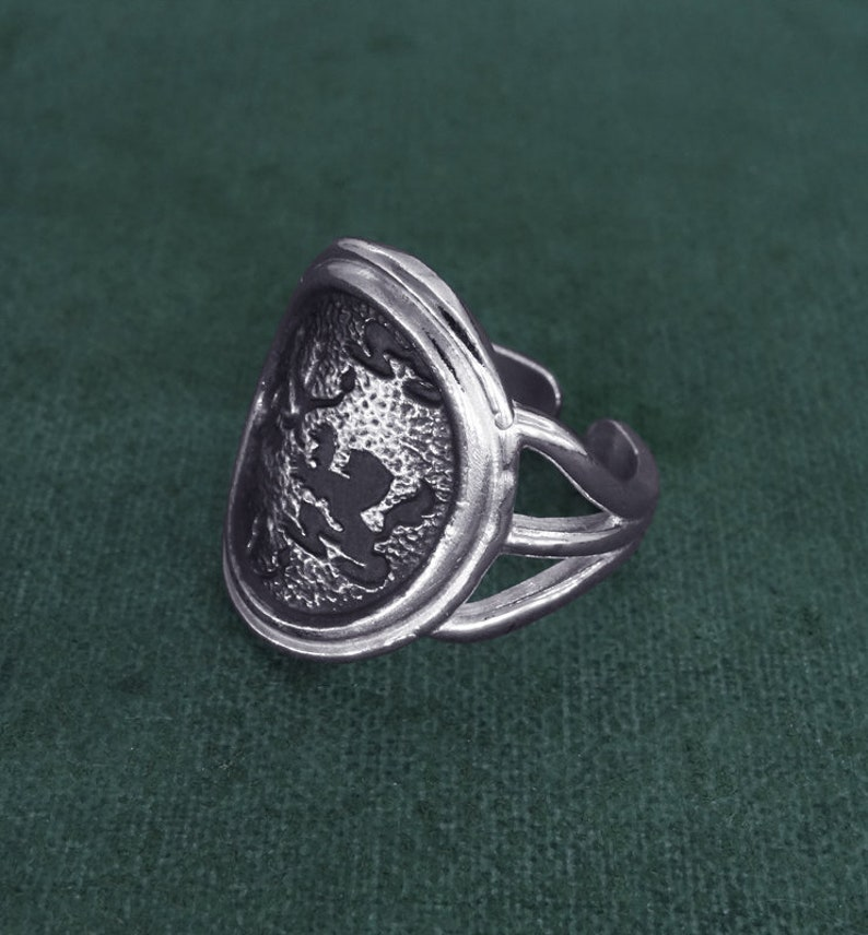 Ring with Lyon coat of arms griffins and candelabra french image 0