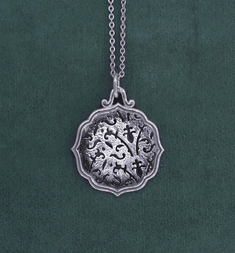 Flower and lily leaf pendant royal symbol sterling silver image 0