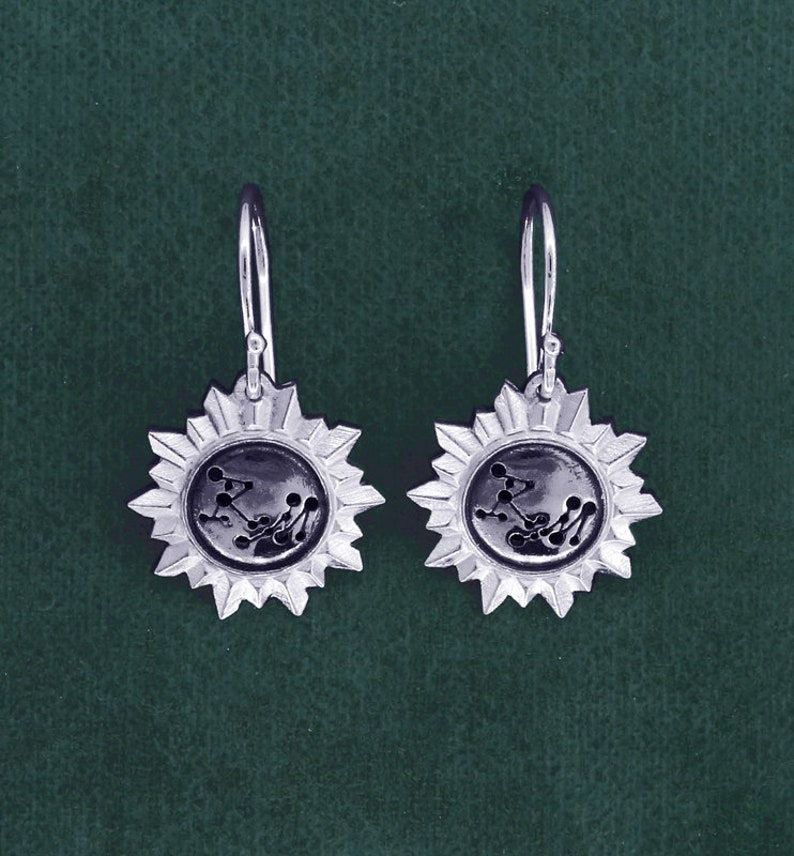 Stars Earrings galaxy astronomy sterling silver  image 0