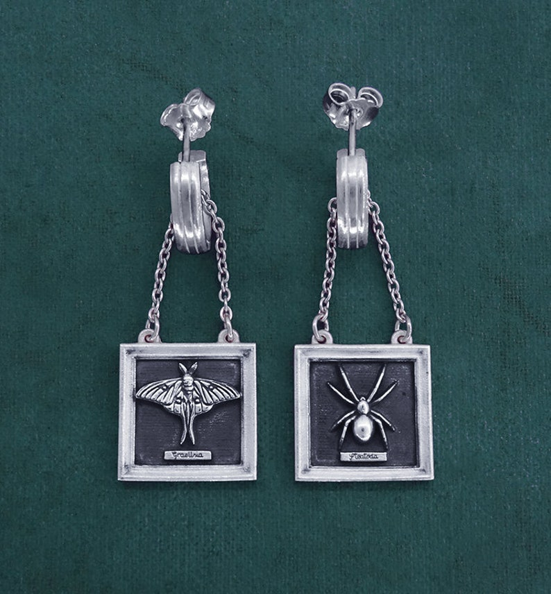 Earrings insects entomology spider and moon moth sterling image 0