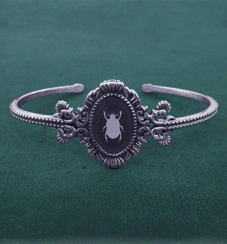 Beetle egyptian bangle bracelet ornamented baroque rococo image 0