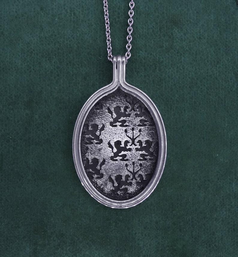 Lyon emblem pendant lions and candlestick sterling silver image 0