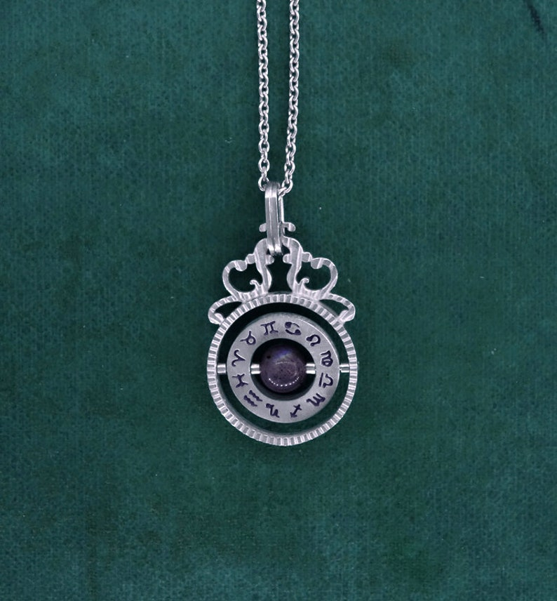 Tiny armillary pendant zodiacs signs astronomy silver image 0