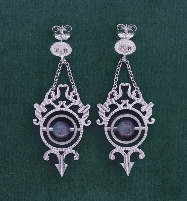 Astrolabe earrings armillary sphere sterling silver image 0