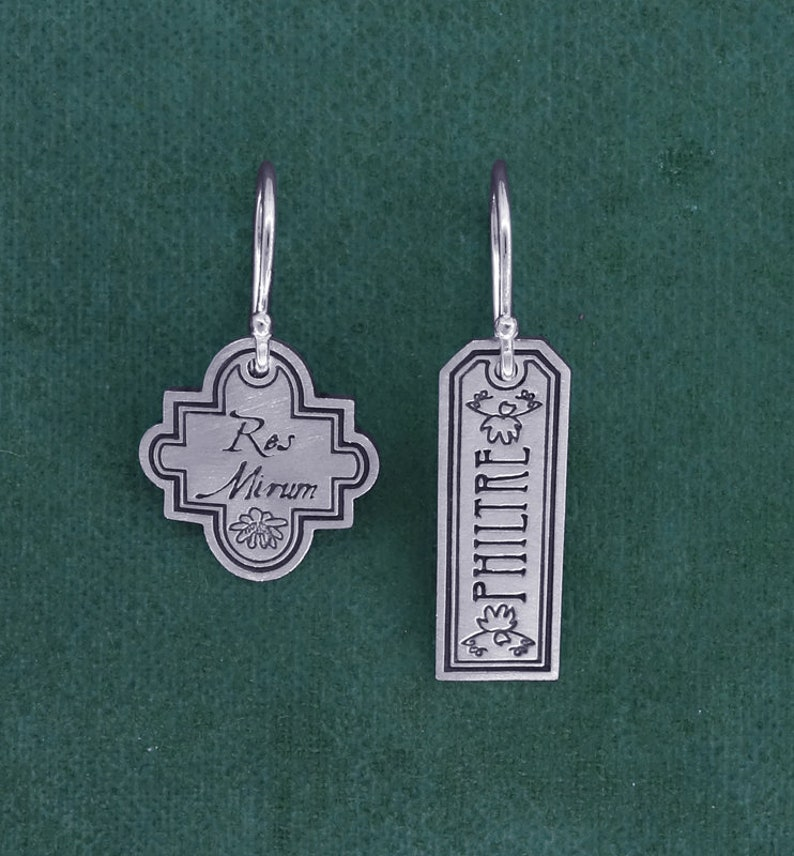 Label vial earrings antique flask apothecary potion 925 image 0