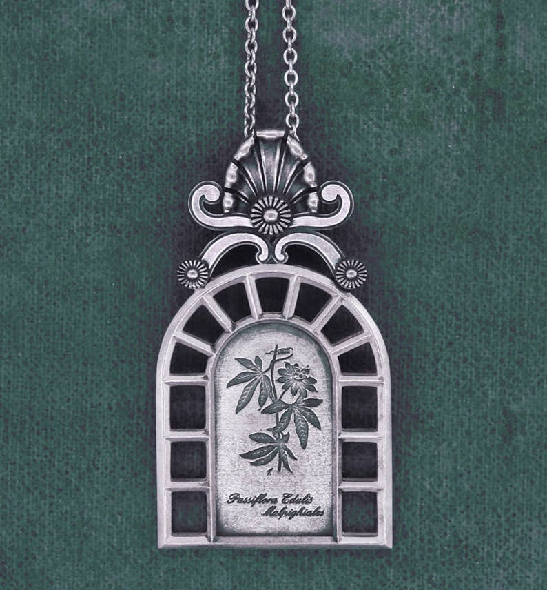 Passionflower pendant greenhouse antique window sterling image 0