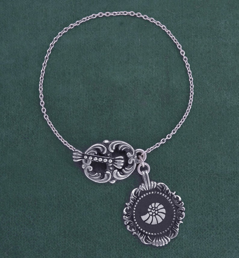 Ammonite bracelet fossil in baroque frame sterling silver  image 0