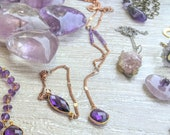 Amethyst Rose Gold Plated Chain lariat Crystal layering necklace Calming Purple Gemstone February Birthstone healing jewlery