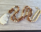 108 Mala White Cream Turquoise Wood beads Fossil Stone gemstone Long Beaded Necklace Yoga Meditation Prayer Beads Mala Rose Gold