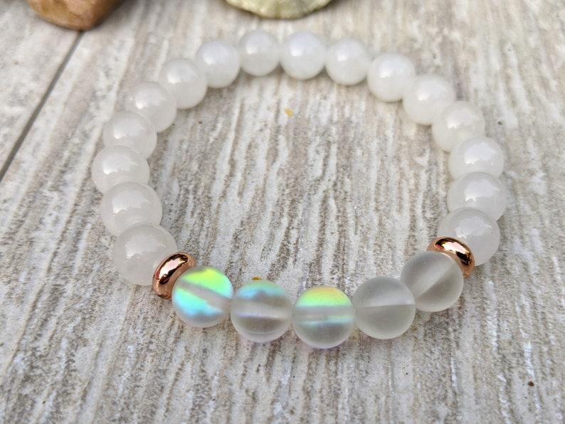 Set Stack of 3 Gemstone Stretch Bracelets Purple Amethyst White Jade Shimmering Moonstone Rose Gold Healing Bracelets Yoga Calming Love