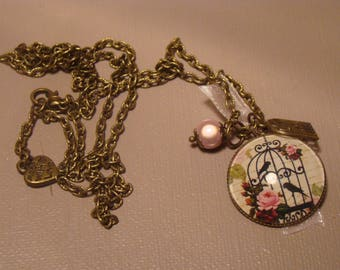 Long chain necklace and a bird cage glass cabochon