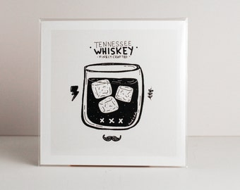 "Whiskey 4""x4"" Art Print/Illustration/Home Decor/Gift Idea"