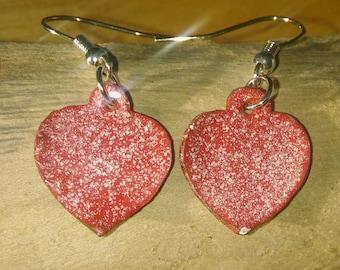 Red enamel Heart earrings, Enamel earrings, Enamel jewellery, Copper Jewellery, Dangle  Drop earrings, Birthday gift, Bridesmaid gift.