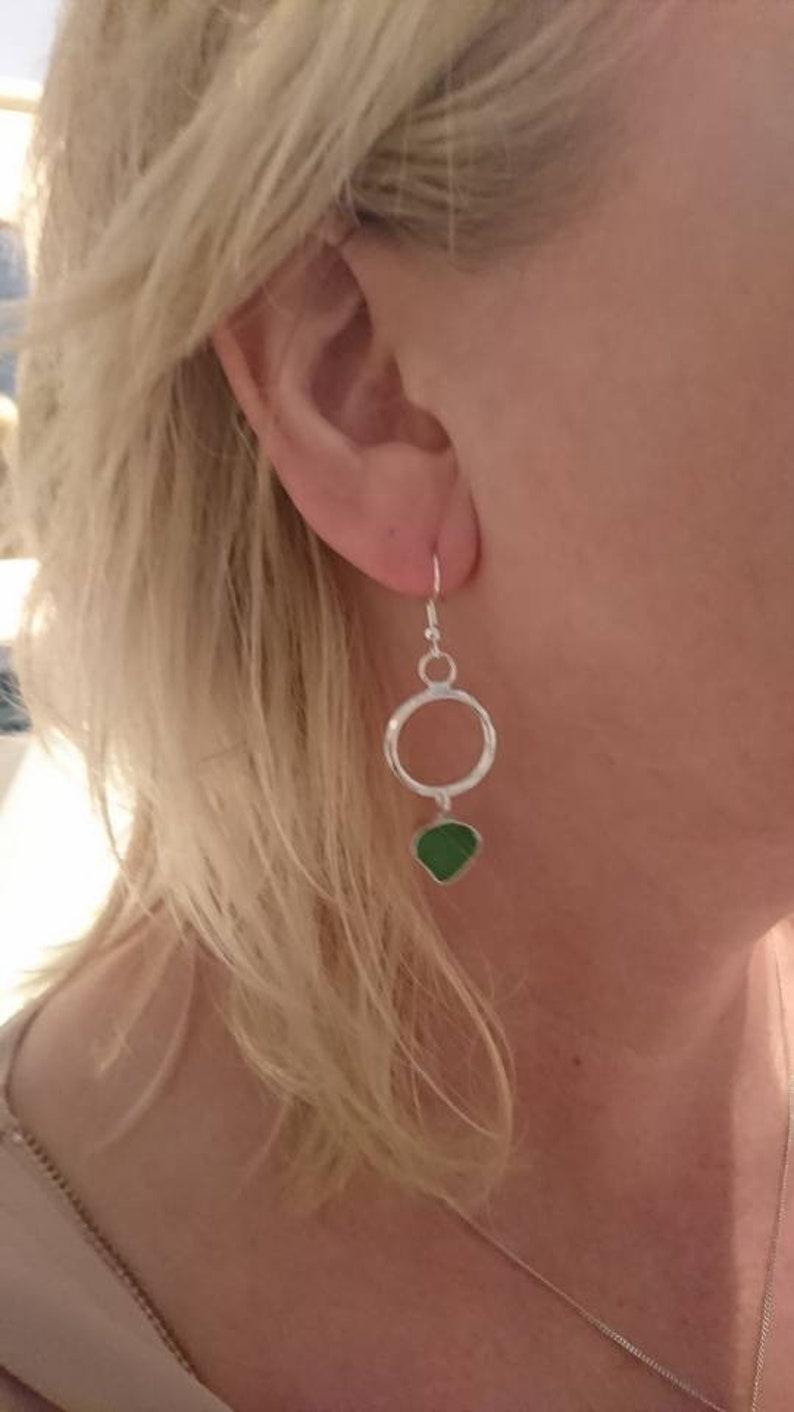 Emerald Green Sea glass earrings Silver hoop earrings Sea Glass earrings Sea glass jewellery Boho style Sea glass Silver Drop earrings