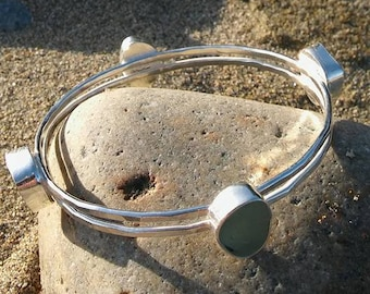 Sea Glass bangle, Sea glass bracelet, Cornish sea glass bangle, Sea Glass jewellery, Silver bangle, Bridesmaid gift, Christmas gift.