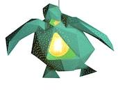 Sea Turtle  Paper Lamp Shade, Natural Lamps, Geometric lamp, Origami Lampshade, Paper Lantern, Modern Pendant Light, Design Hanging Lamp