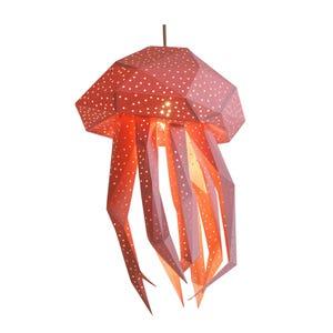 Jellyfish DIY Lampshade, Paper Lamp Shade, Livingroom Decor,  Geometric lamp, Kids Room Nightlight, Origami Lampshade, Natural Lamps