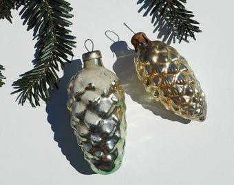 Pinecones ornaments Christmas tree decor woodland Christmas vintage toys winter pinecone silver gold xmas ornaments mercury glass pine cones