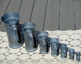 Tin pitcher set vintage measuring cups tin ewer set pewter jugs water jug French graduated measures rustic farmhouse kitchen decor