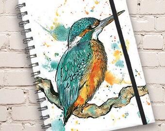 A5 Kingfisher Print Hardback Spiral Bound Notebook