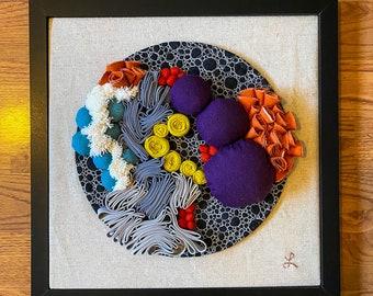 Out of My Head Fabric Art/Fiber Art/3D/Textile/Boho/3 Dimensional/Wall Art/Original/One of a Kind/ Wall Art