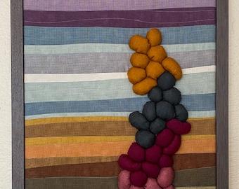 River Rock Fabric Art/Fiber Art/Textile/Boho/3 Dimensional/Wall Art/Original/One of a Kind/Cabin/Farmhouse