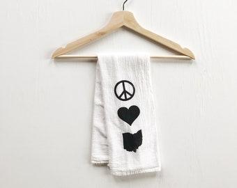 peace love ohio flour sack tea towel