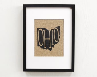 ohio stick framed burlap print