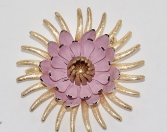 "Emmons gold tone pink enamel flower pin,vintage brooch,enamel floral pin,flower jewelry,gold flower pin,2"",pink flower pin,pink brooch,SALE!"