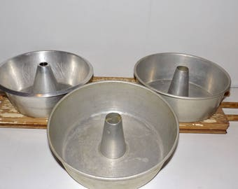 """Angel food cake pans,set of 3,aluminum cake pans,metal bakeware,Angelaire Junior,Wear Ever,9"""" round,removable bottom,bakery decor"""