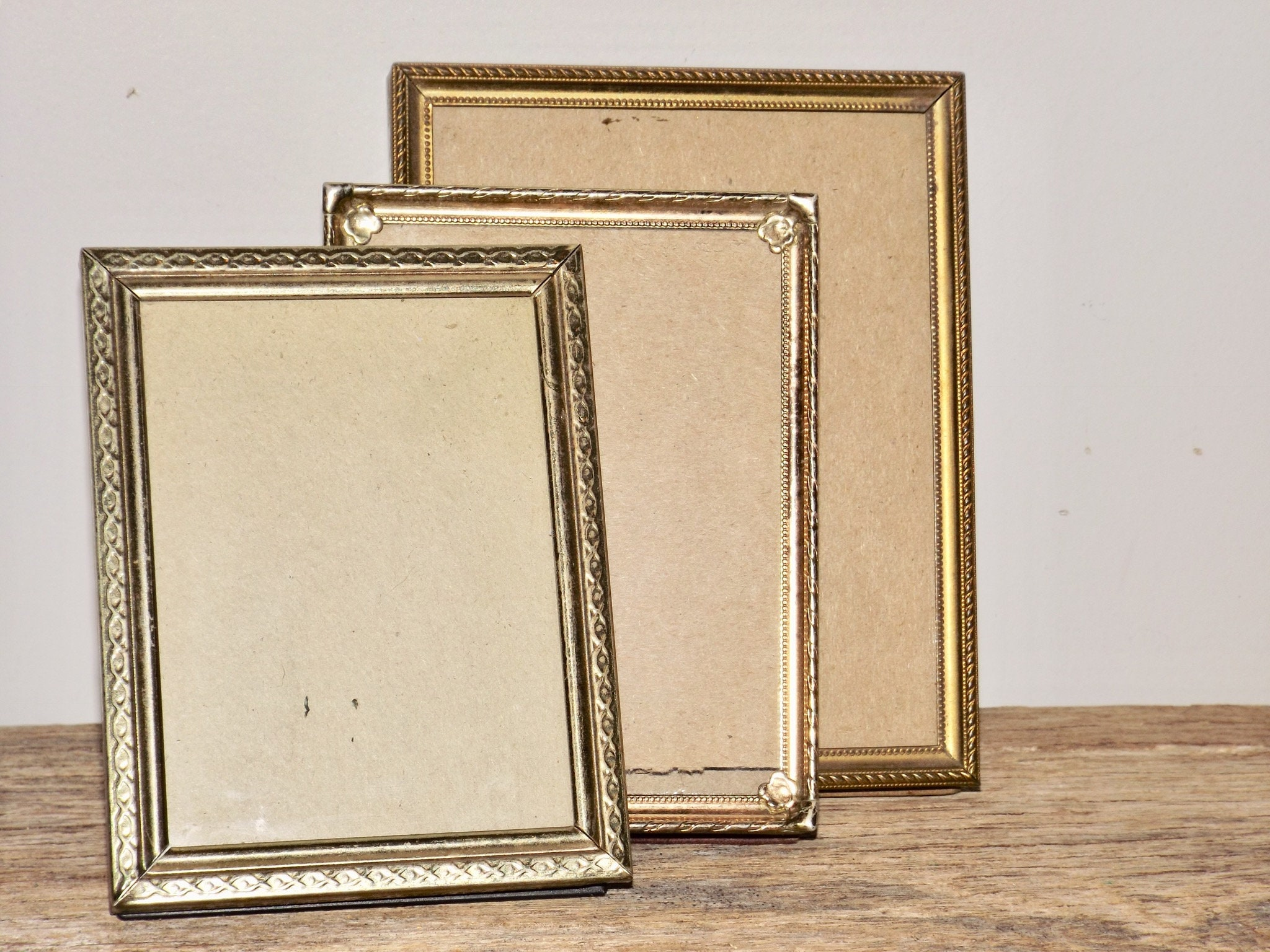 Small gold tone frames,set of 3,glass front,4x5,3x4,table top frame ...