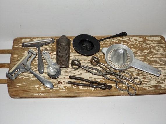 Aluminum kitchen utensils,set of 9,measuring spoons,tea strainer,cheese slicers,zester,thongs,gadgets,nutcracker,rustic,farmhouse,bakery