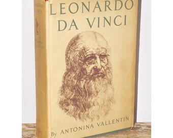 Leonardo Da Vinci biography,1952,Antonina Vallentin,dust jacket,hard cover,red hardcover,mid century,coffee table book