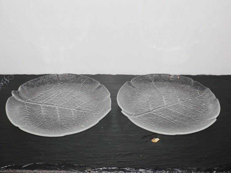 Arcoroc France Aspen leaf pattern,small salad plates,set of 2,clear glass  bread plates,glass dinnerware,7 5
