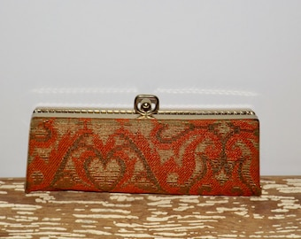 Red brocade hard cover eyeglass case,gold trim,paisley,red satin lining,make up case,cell phone case,retro,1970s,small clutch,accessories