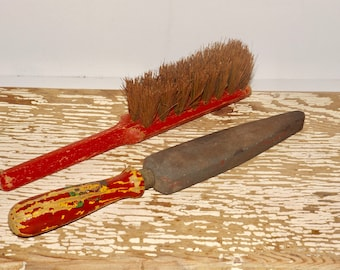 Carborundum hone file,soft bristle brush,red wood handle,antique tools,carbon file,sharpening,whetstone file,home improvement,vintage tools
