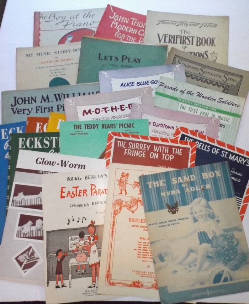 Piano sheet music booklets,1911-1957,set of 23,colorful  cover,11x14,colorful sheet music book,piano teacher,tattered,music  teacher,beginners