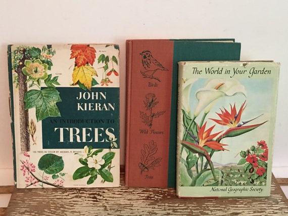 Vintage Gardening books,set of 3,TreesWildflowers,Birds,Garden,color illustrated,1950s,home garden books,planting,home gardening,Nature