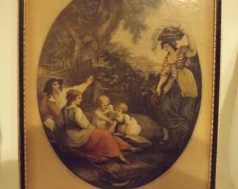 W.Hamilton print of F. Bartolozzi Noon,victorian print,vintage black gold framed print,14 x 11 frame,18th century artist,color print