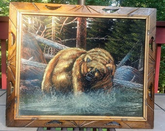 Framed black velvet painting,Grizzly bear,Mexico framed wildlife,animal painting, amazing detail,23x19,man cave decor,brown bear print