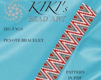 Peyote Pattern for bracelet - Zig zags peyote bracelet pattern in PDF instant download
