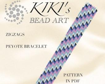 Peyote pattern, Zigzags peyote bracelet PDF pattern - instant download