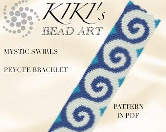 Peyote pattern for bracelet - Mystic swirls peyote bracelet cuff pattern in PDF - instant download
