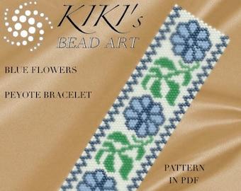 Pattern, peyote bracelet - Blue flowers peyote bracelet pattern PDF instant download