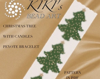 Peyote Pattern for bracelet - Christmas tree with golden candles peyote bracelet pattern in PDF - instant download